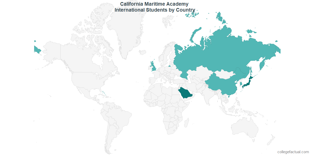 International students by Country attending California Maritime Academy