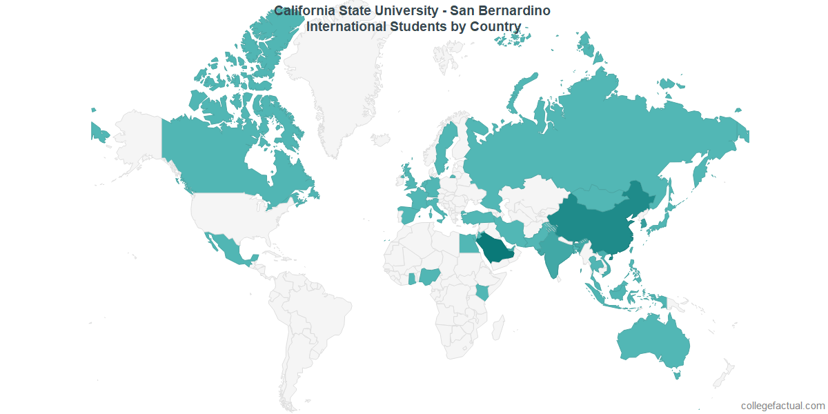 International students by Country attending California State University - San Bernardino