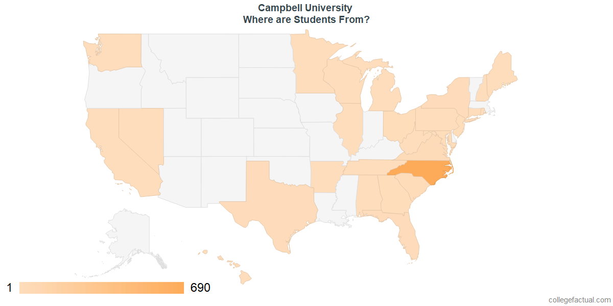 What States are Undergraduates at Campbell University From?