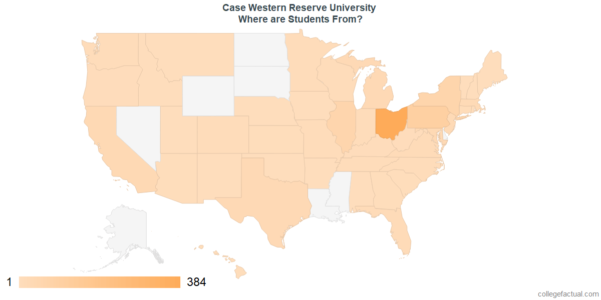 What States are Undergraduates at Case Western Reserve University From?