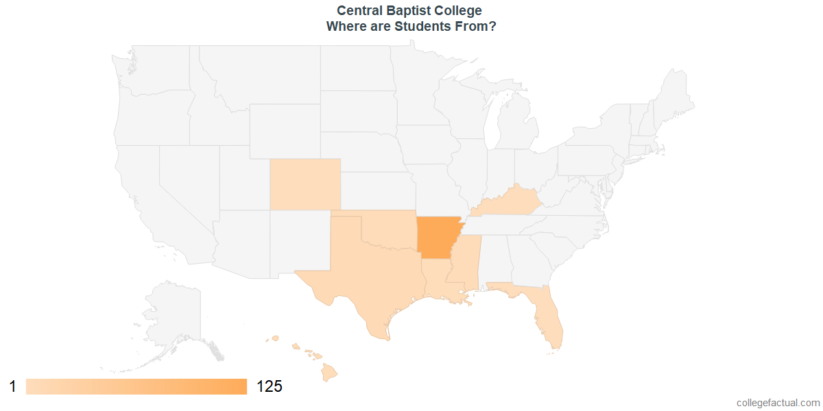 What States are Undergraduates at Central Baptist College From?