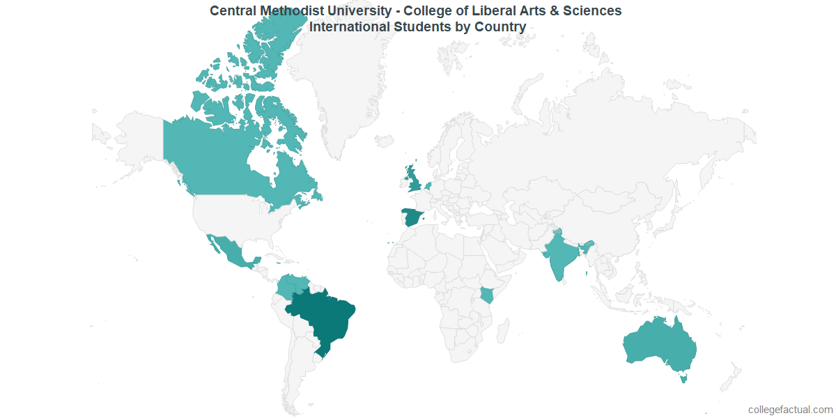 International students by Country attending Central Methodist University - College of Liberal Arts & Sciences
