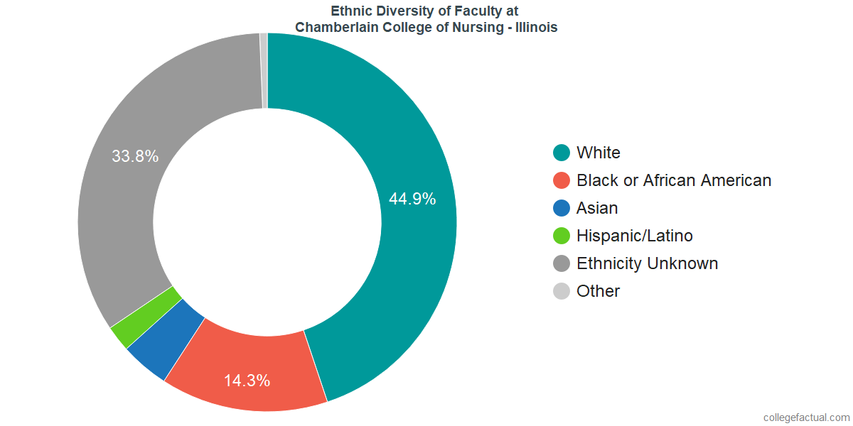 Ethnic Diversity of Faculty at Chamberlain University - Illinois