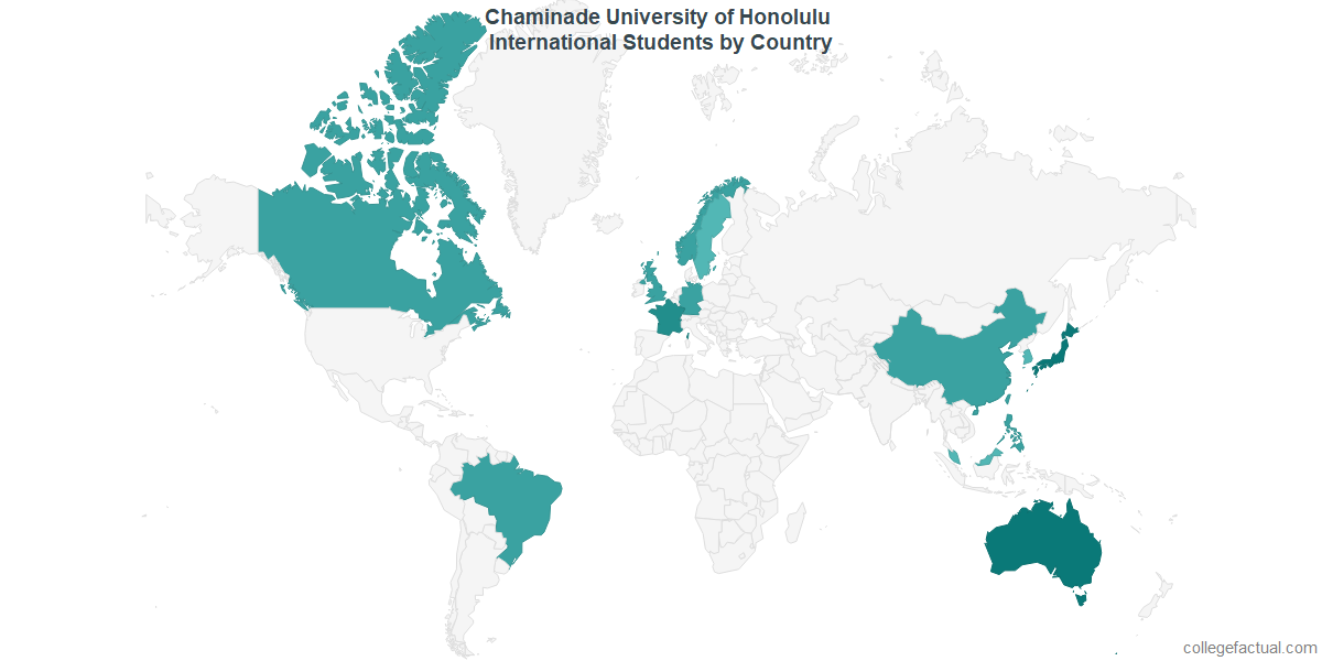 International students by Country attending Chaminade University of Honolulu