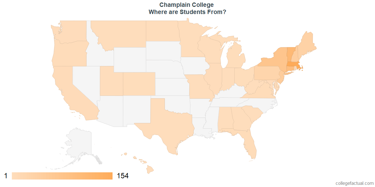 What States are Undergraduates at Champlain College From?