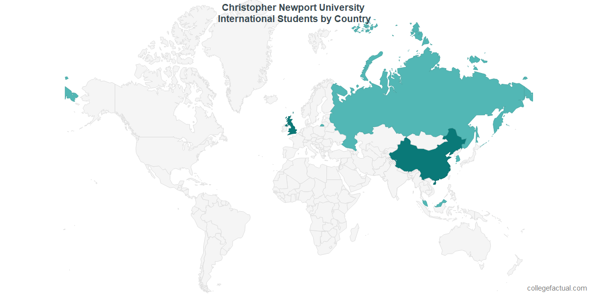 International students by Country attending Christopher Newport University