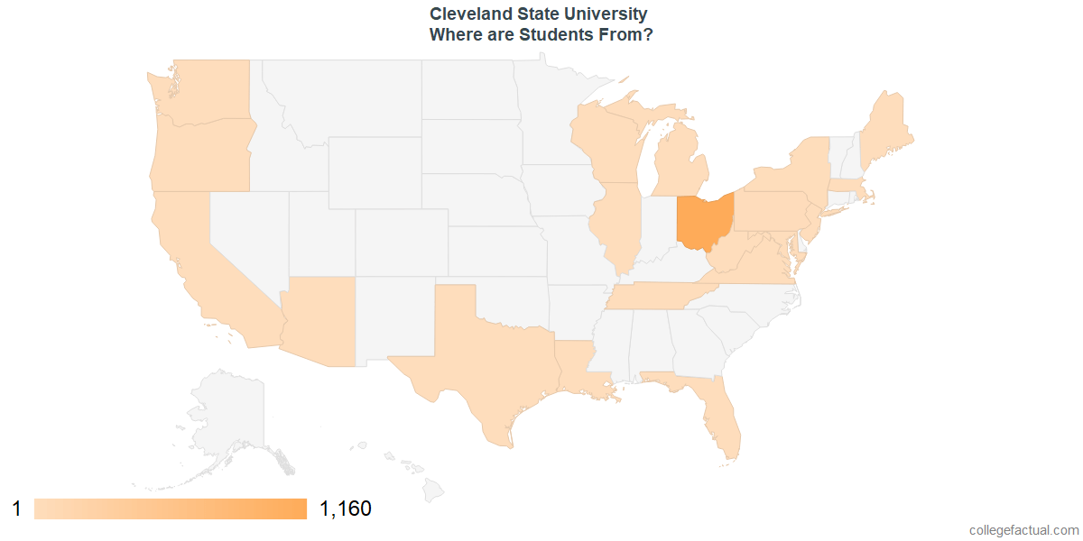 What States are Undergraduates at Cleveland State University From?