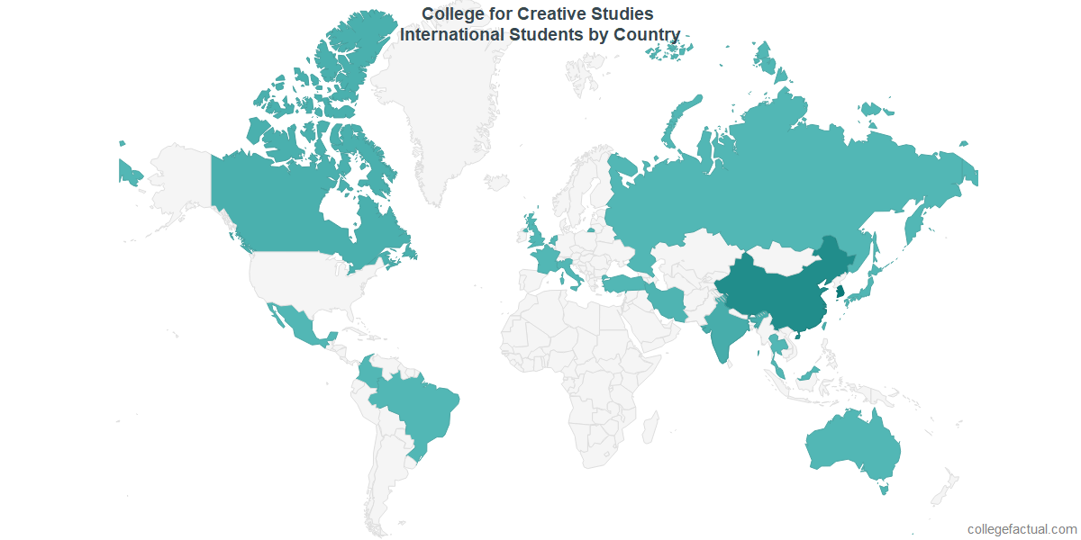 International students by Country attending College for Creative Studies