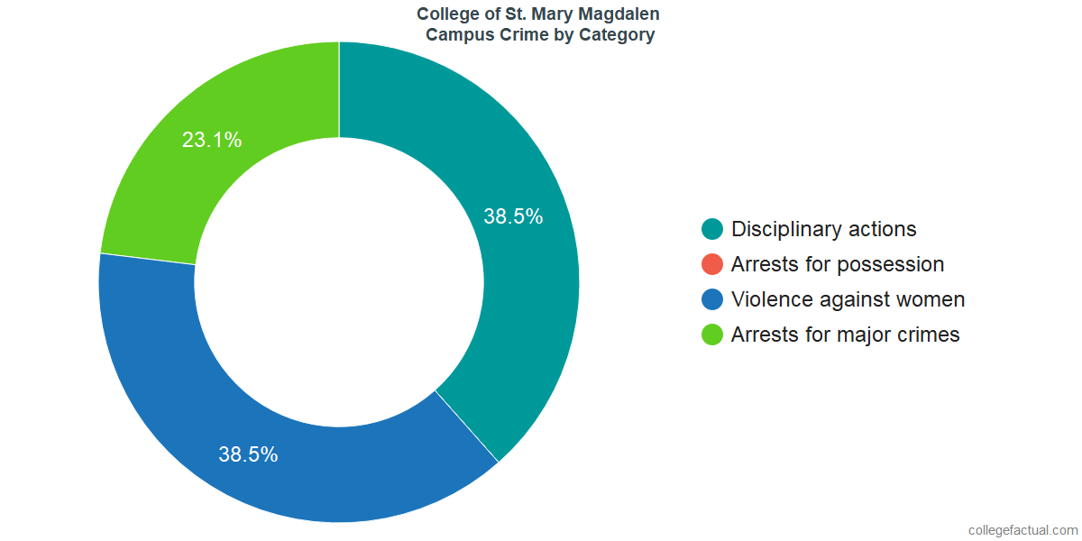 On-Campus Crime and Safety Incidents at College of St. Mary Magdalen by Category
