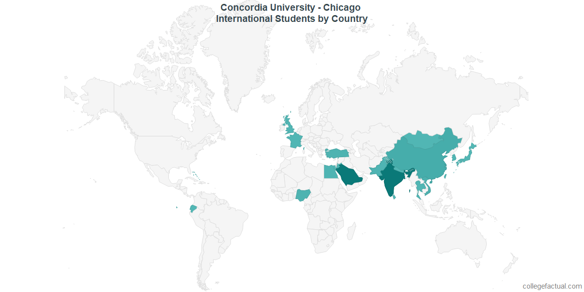 International students by Country attending Concordia University - Chicago