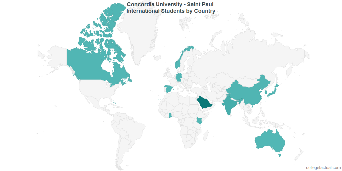International students by Country attending Concordia University - Saint Paul