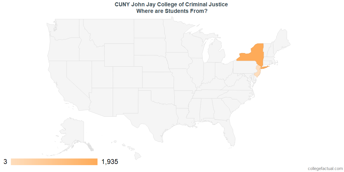 What States are Undergraduates at CUNY John Jay College of Criminal Justice From?