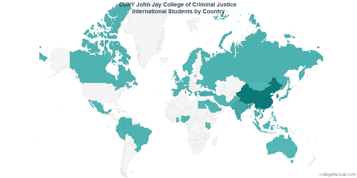 International students by Country attending CUNY John Jay College of Criminal Justice