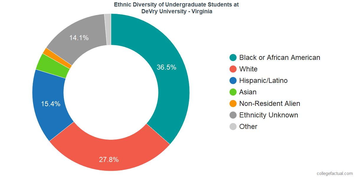 Ethnic Diversity of Undergraduates at DeVry University - Virginia