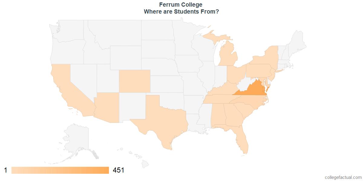 What States are Undergraduates at Ferrum College From?