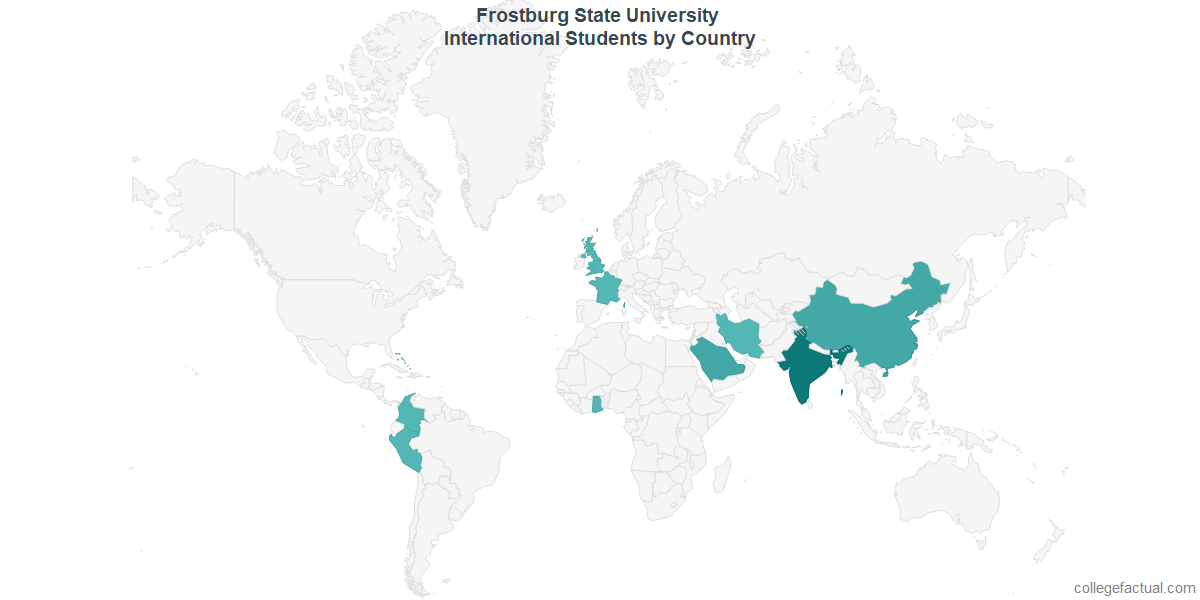 International students by Country attending Frostburg State University