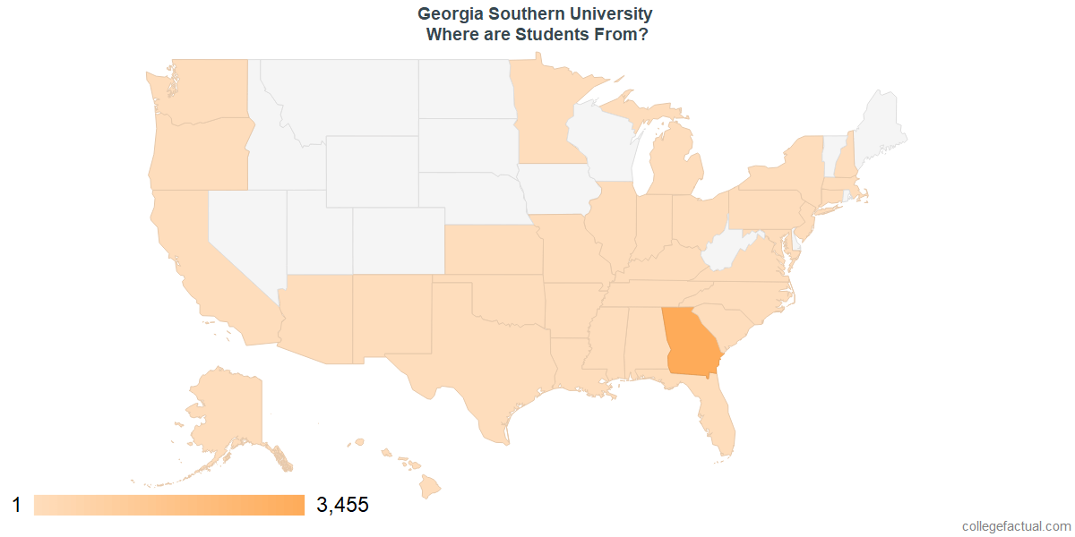 Georgia Southern University Diversity Statistics At College Factual - Map of southern us states