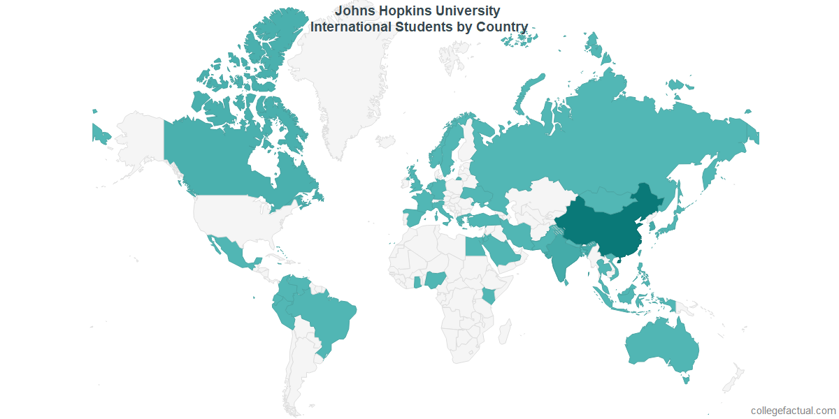 International students by Country attending Johns Hopkins University