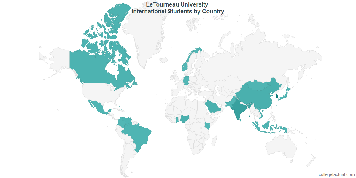 International students by Country attending LeTourneau University