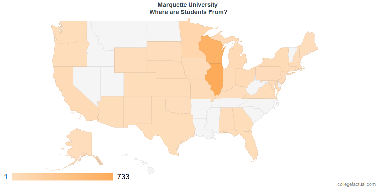 What States are Undergraduates at Marquette University From?