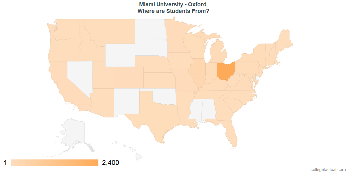 What States are Undergraduates at Miami University - Oxford From?