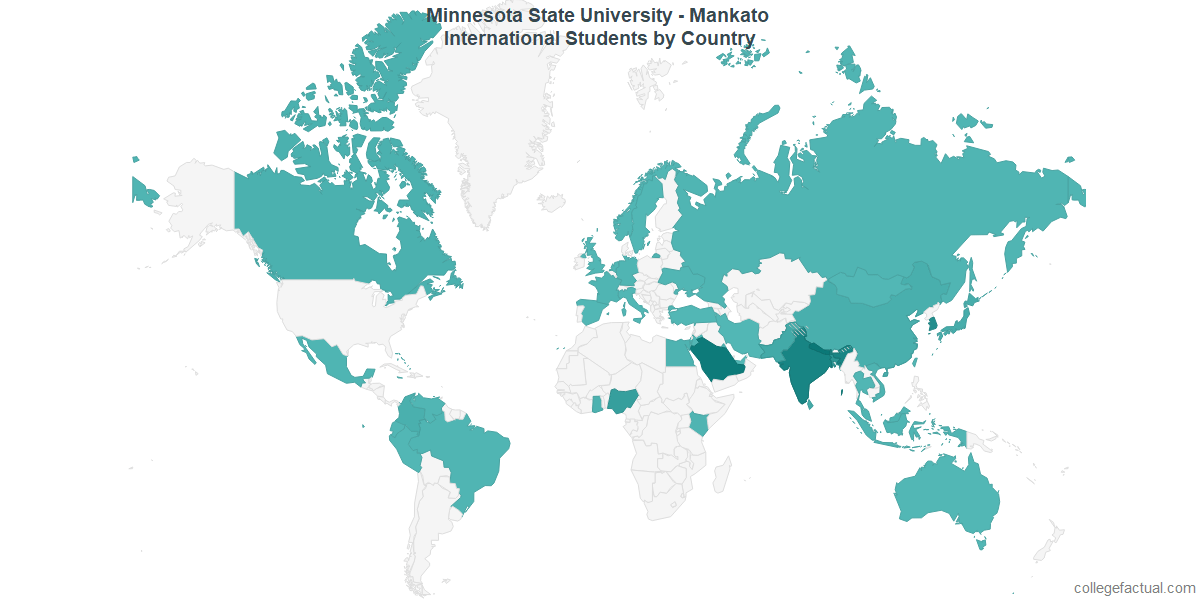 International students by Country attending Minnesota State University - Mankato