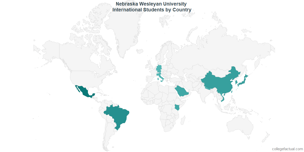 International students by Country attending Nebraska Wesleyan University