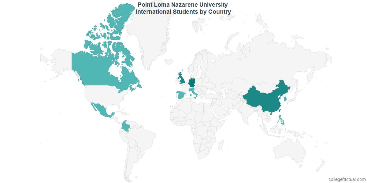 International students by Country attending Point Loma Nazarene University