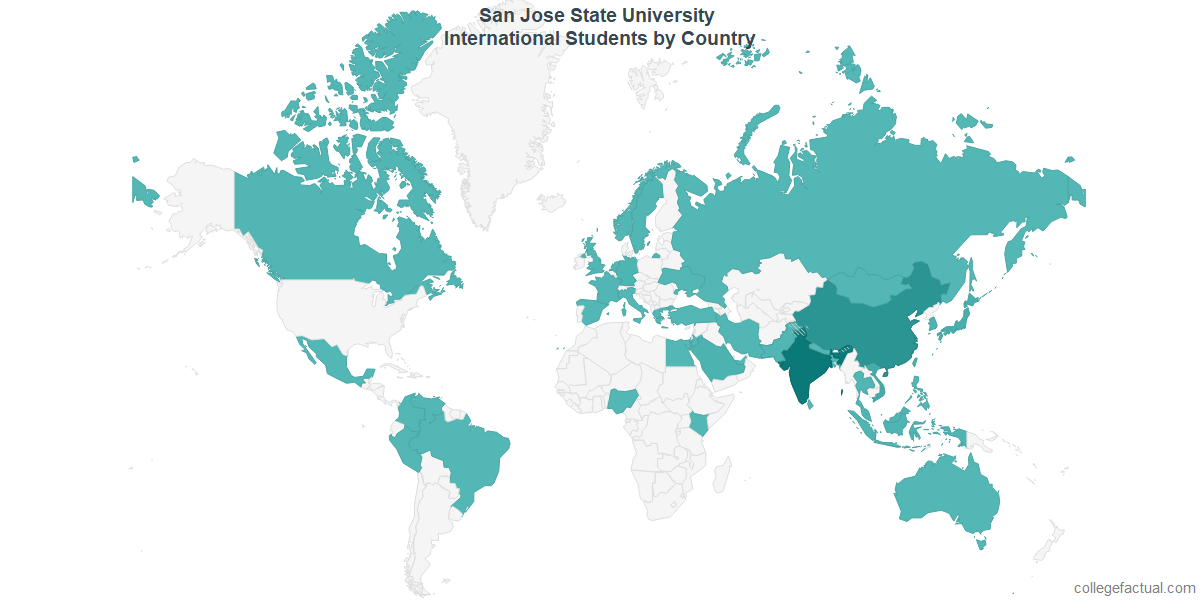International students by Country attending San Jose State University