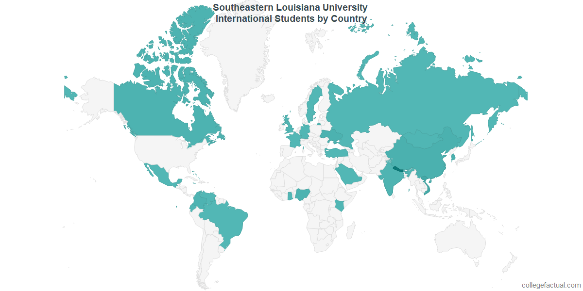 International students by Country attending Southeastern Louisiana University