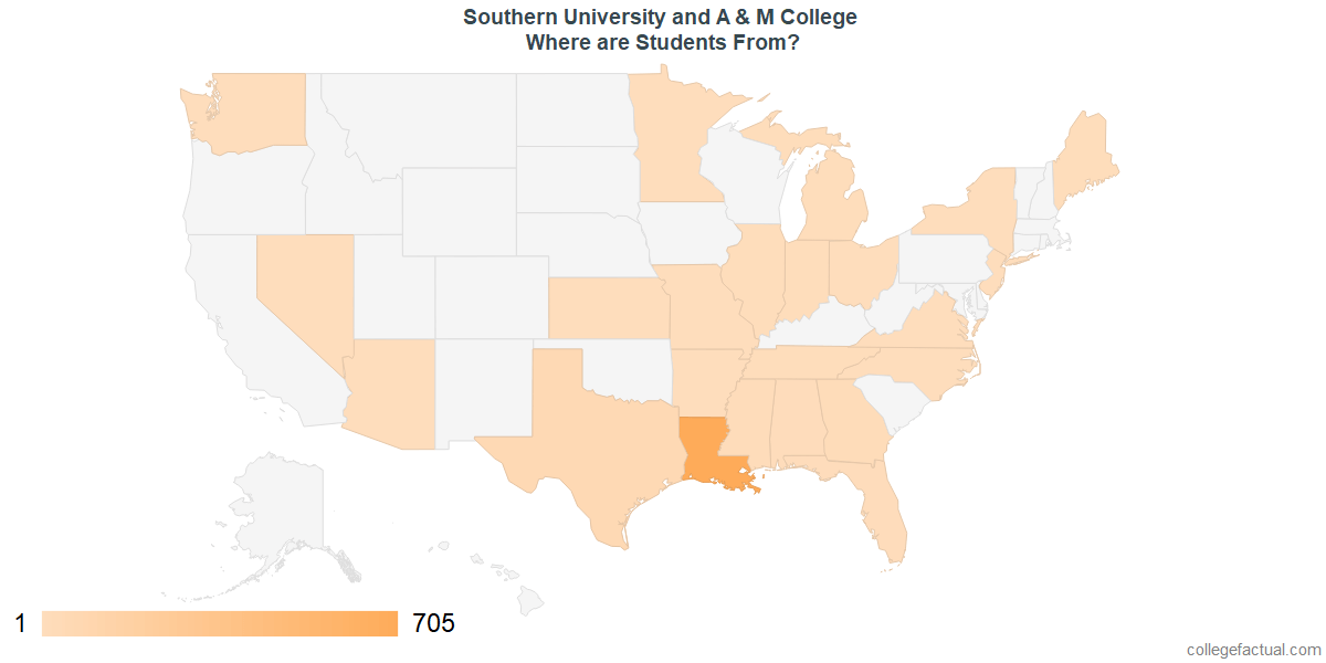 What States are Undergraduates at Southern University and A & M College From?