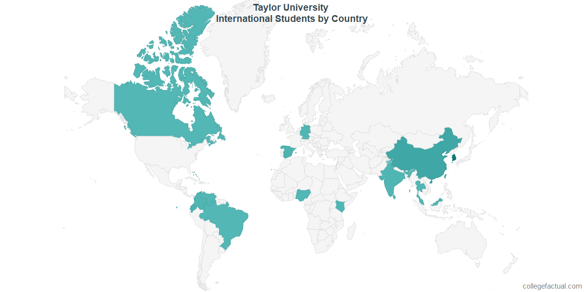 International students by Country attending Taylor University