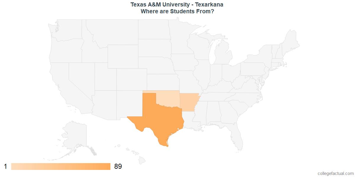 What States are Undergraduates at Texas A&M University - Texarkana From?