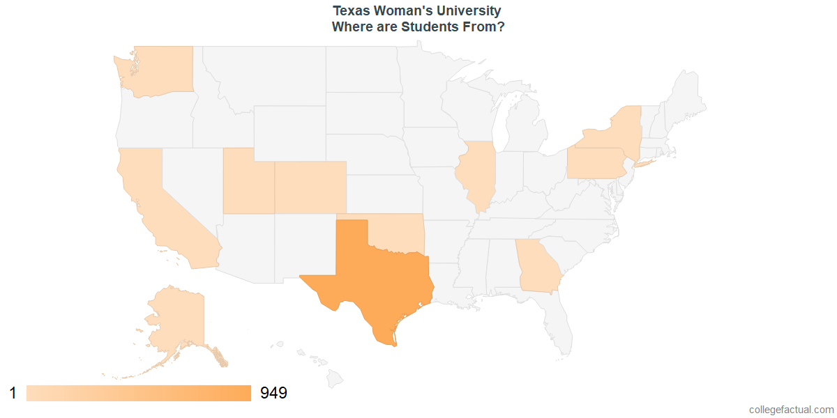 What States are Undergraduates at Texas Woman's University From?