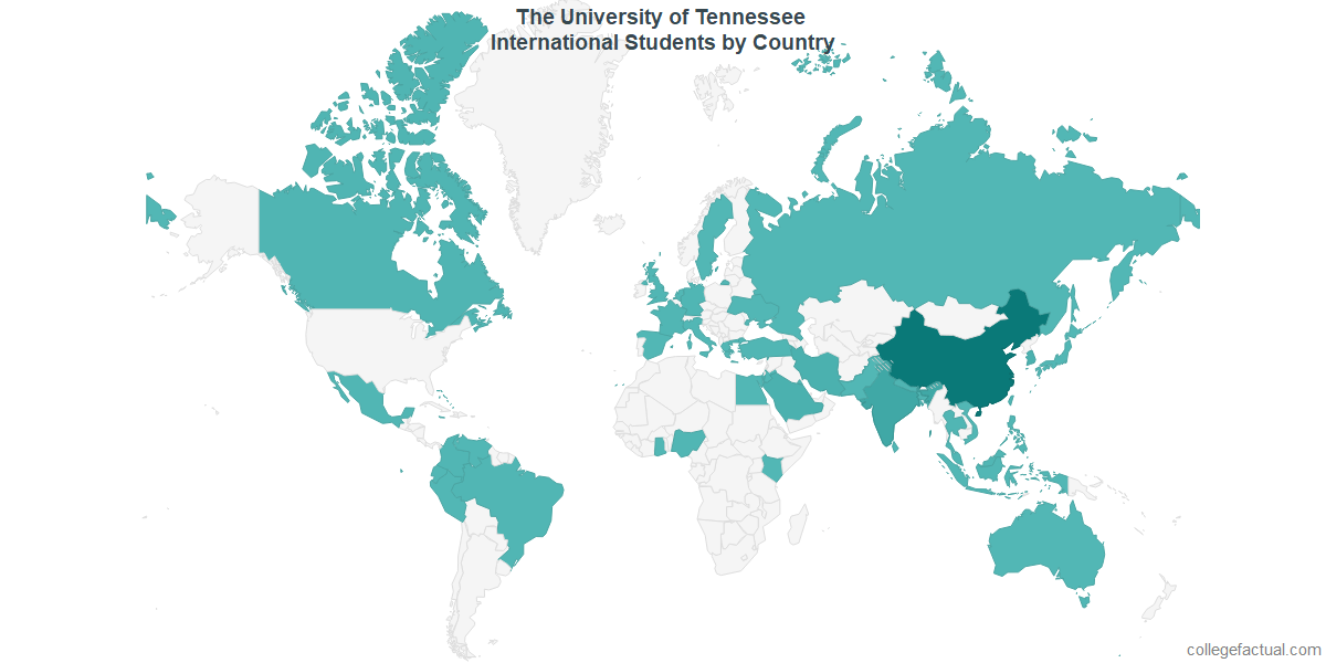 International students by Country attending The University of Tennessee - Knoxville