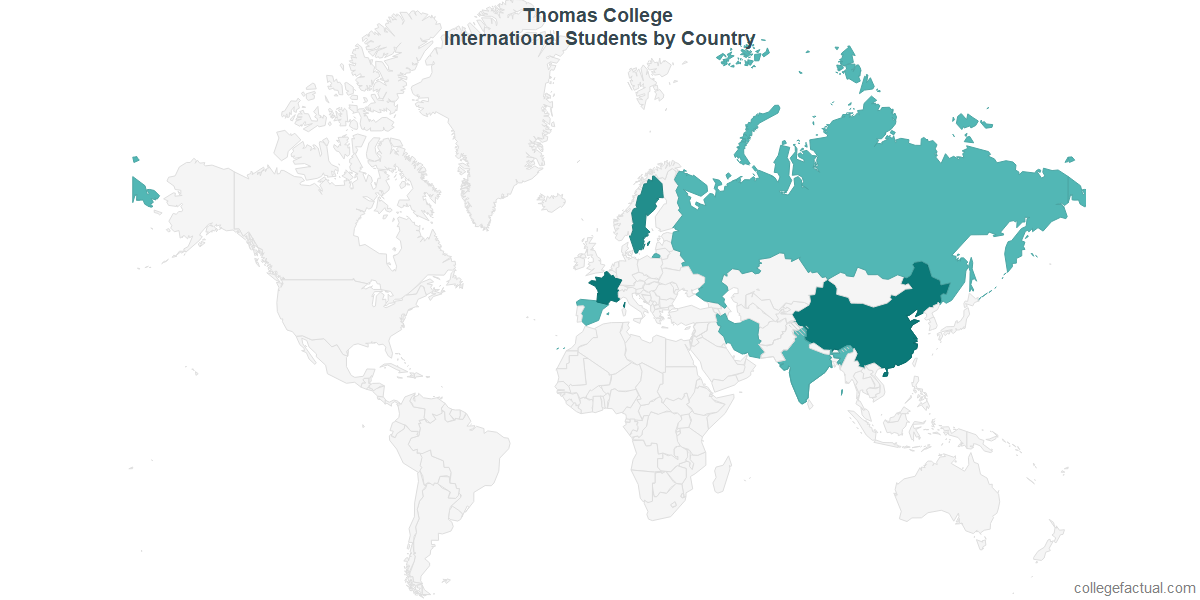 International students by Country attending Thomas College