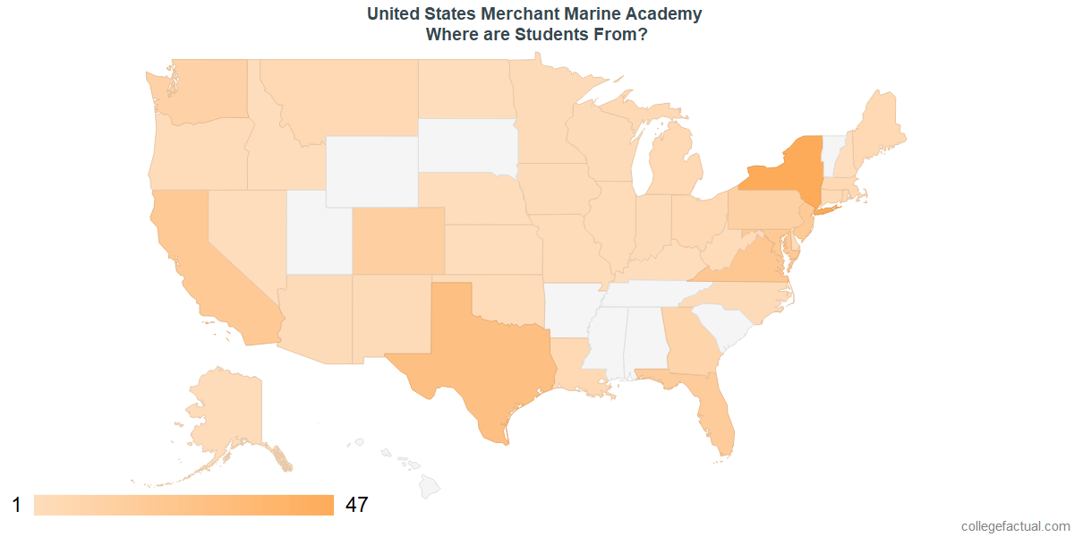 What States are Undergraduates at United States Merchant Marine Academy From?