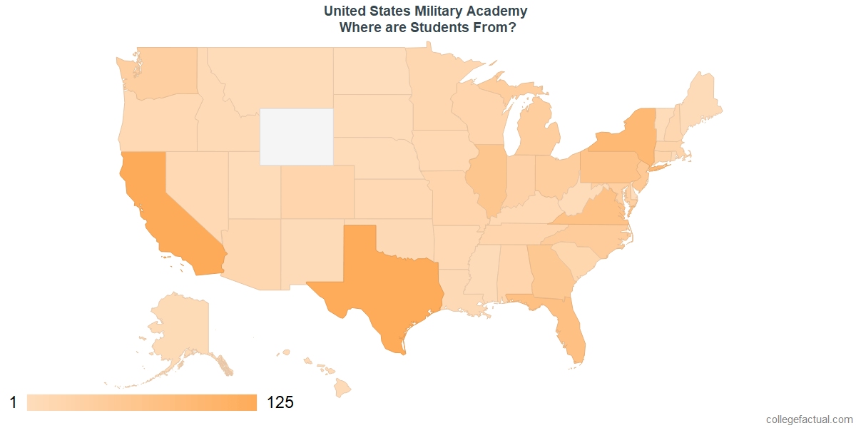 What States are Undergraduates at United States Military Academy From?