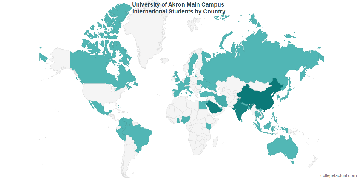 International students by Country attending University of Akron Main Campus