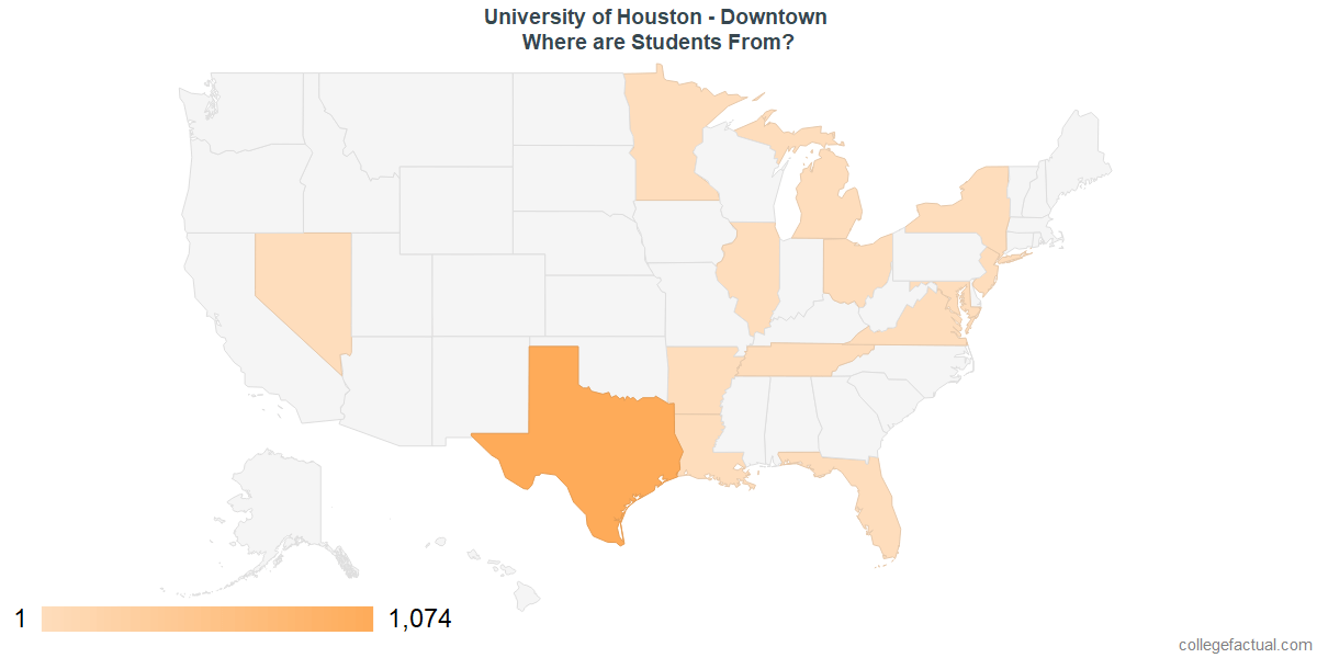 What States are Undergraduates at University of Houston - Downtown From?