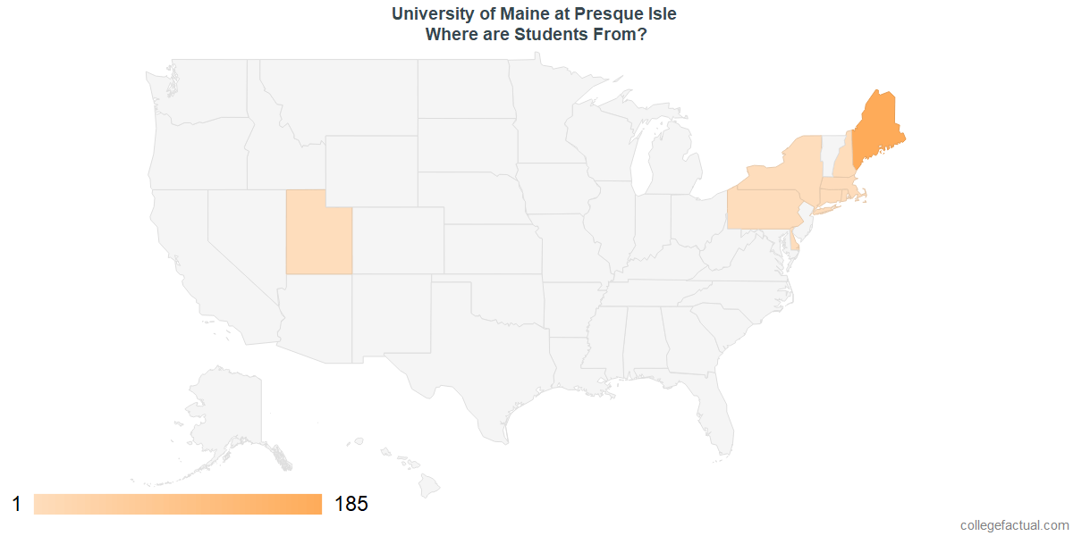 What States are Undergraduates at University of Maine at Presque Isle From?