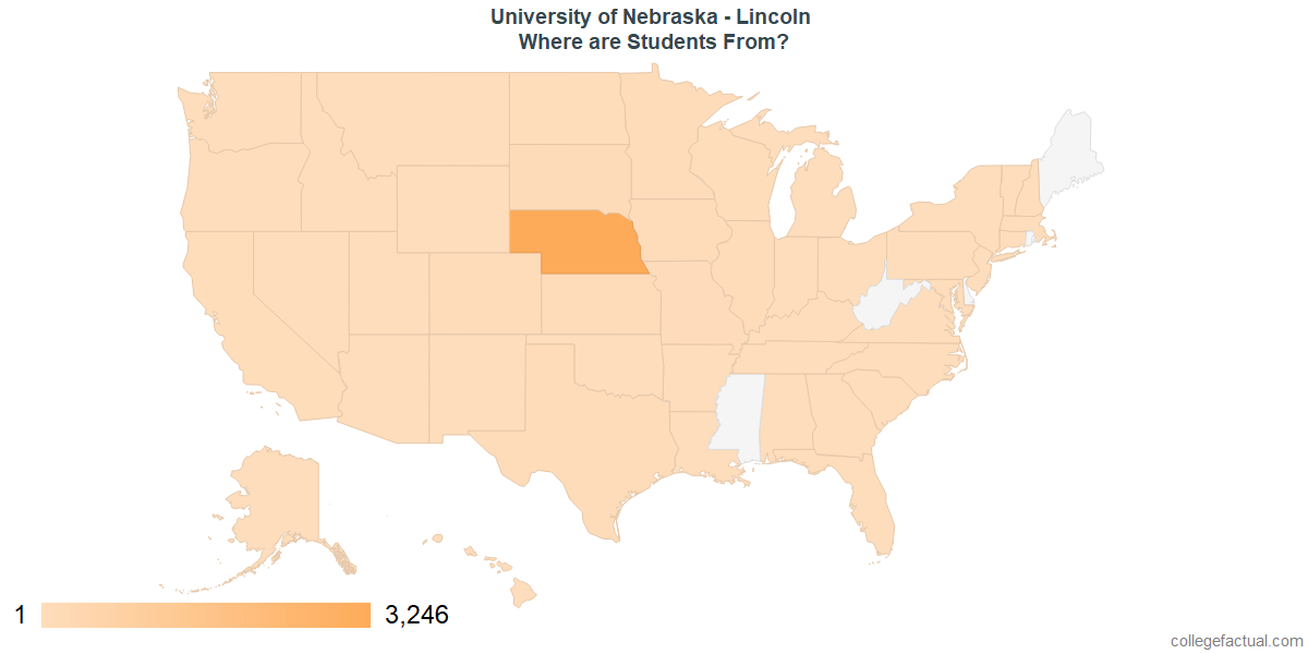 What States are Undergraduates at University of Nebraska - Lincoln From?