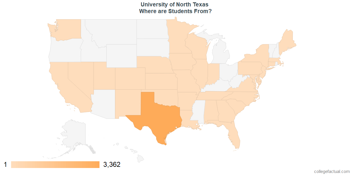What States are Undergraduates at University of North Texas From?