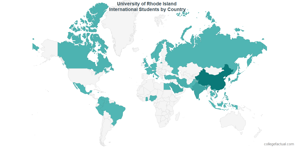 International students by Country attending University of Rhode Island
