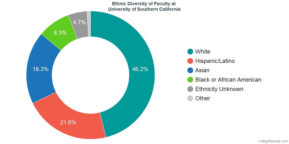 Ethnic Diversity of Faculty at University of Southern California