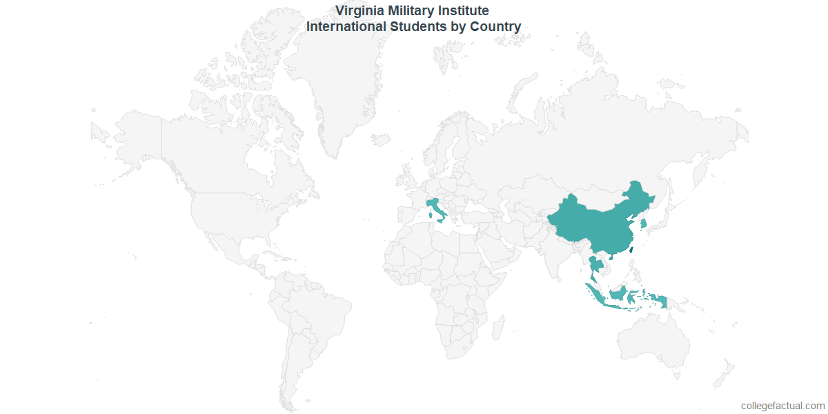 International students by Country attending Virginia Military Institute