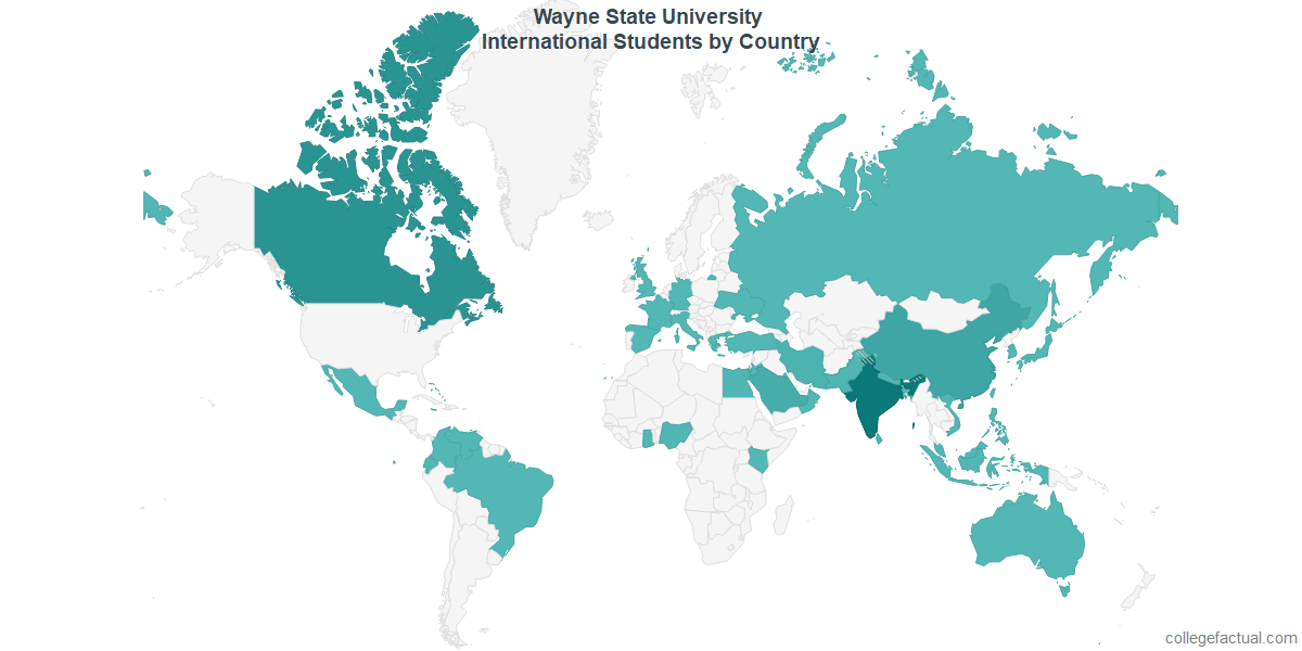 International students by Country attending Wayne State University