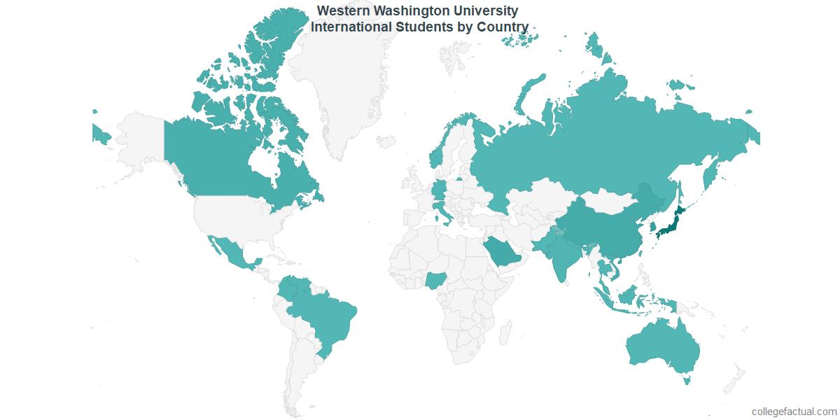 International students by Country attending Western Washington University