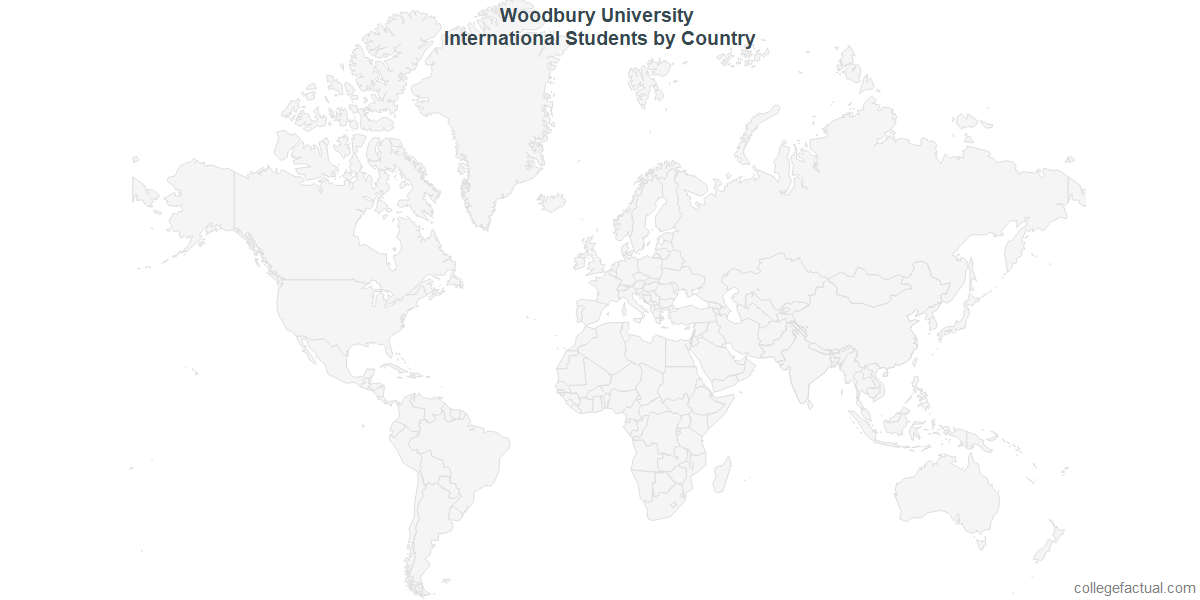 International students by Country attending Woodbury University