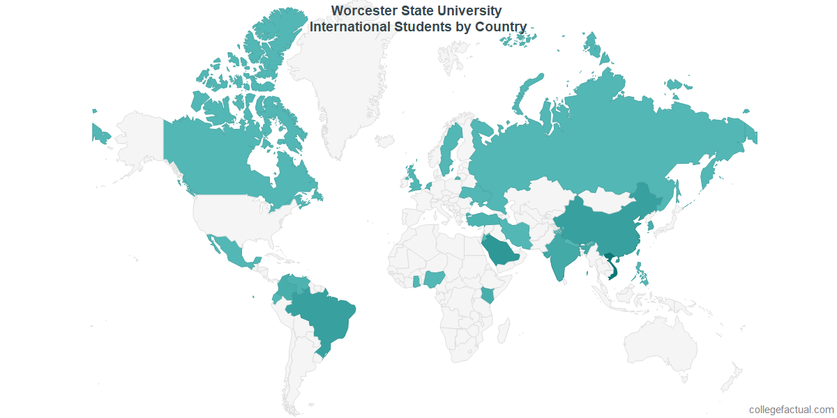 International students by Country attending Worcester State University